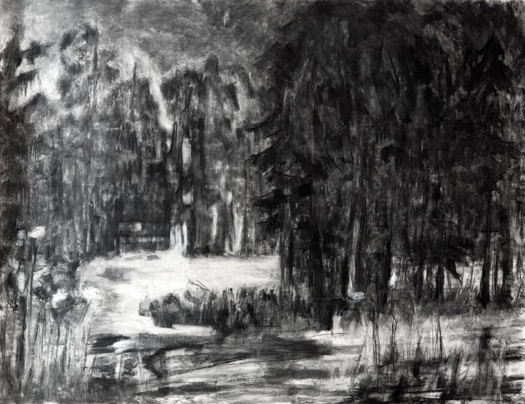 Schemering 2, 2014, houtskool op linnen, 95 x 125 cm
