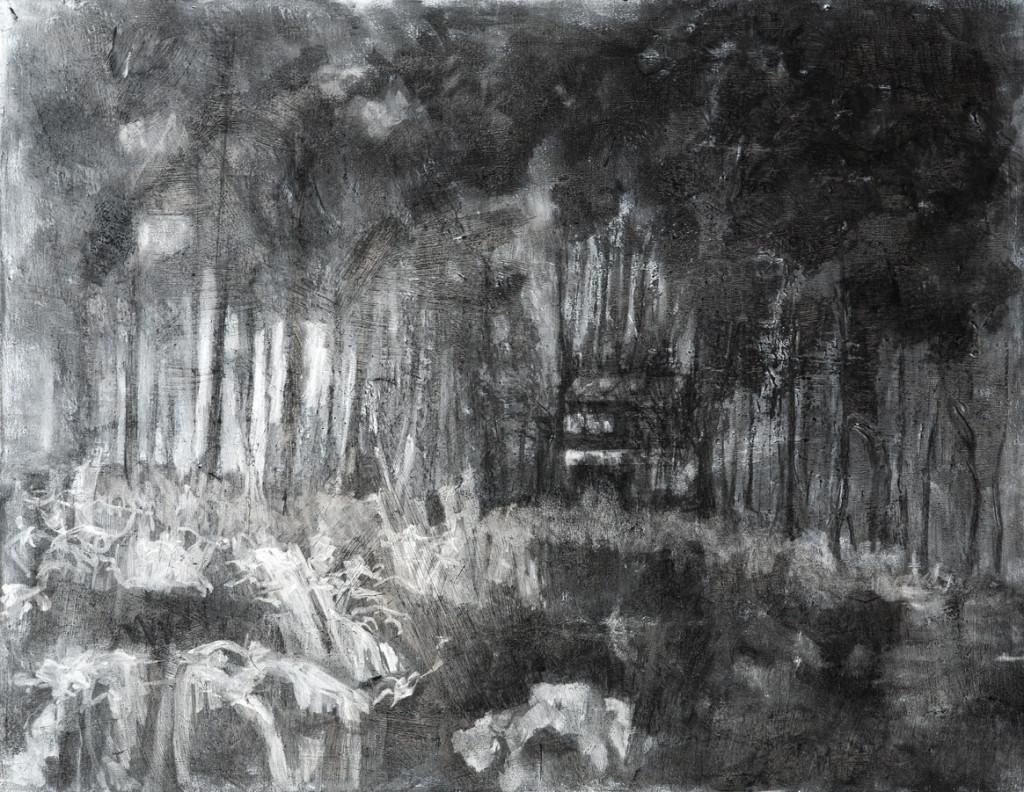 Schemering 6, 2014, houtskool op linnen, 60 x 60 cm