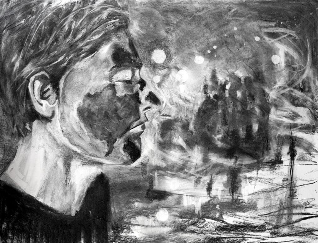 Mogelijkheden, 2014, houtskool op papier, 110 x 145 cm