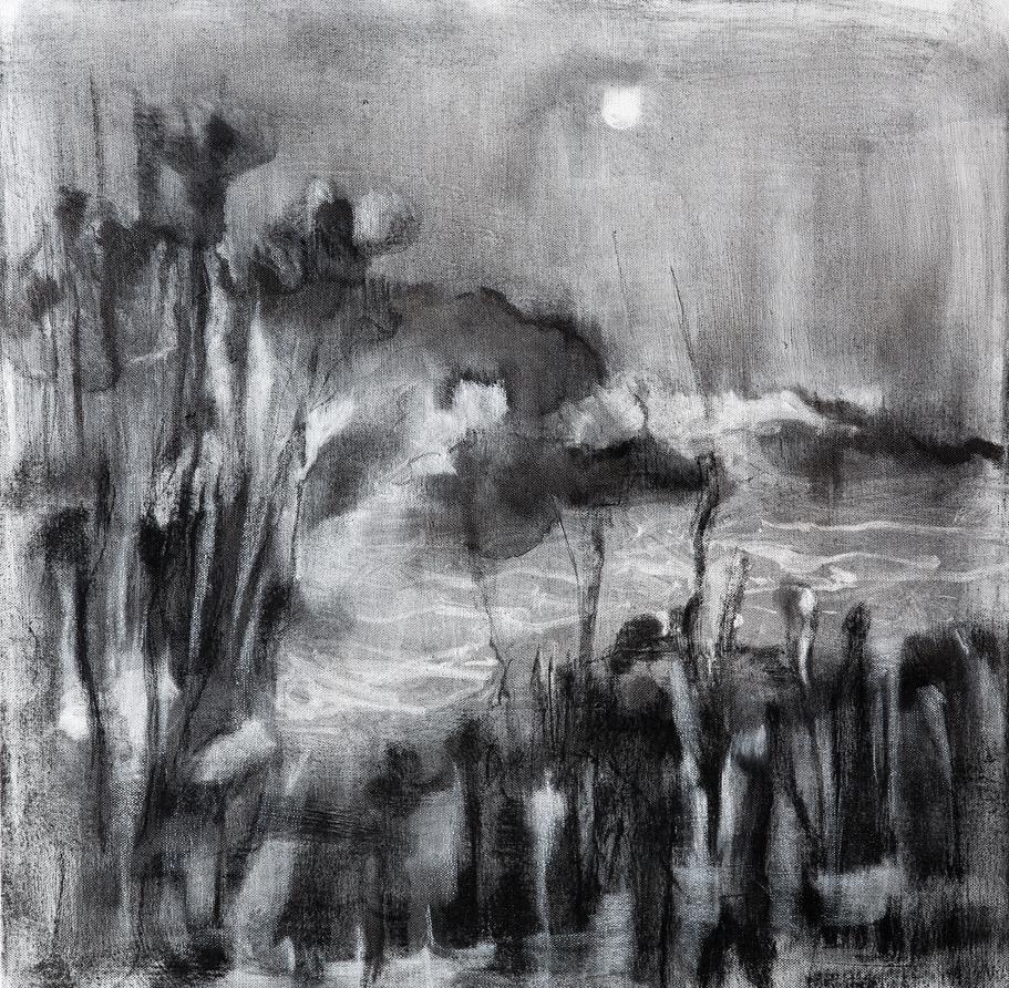 Schemering 5, 2014, houtskool op linnen, 60 x 60 cm